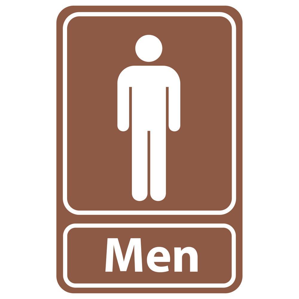 5.5 in x 8.5 in. Plastic Brown Men Restroom Sign