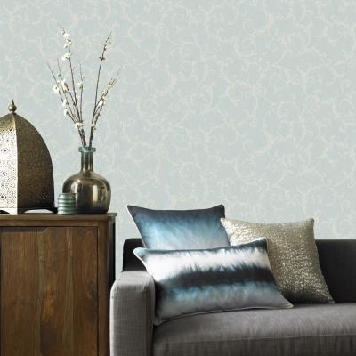 Textured Blue Scroll Wallpaper Home Decor The Home
