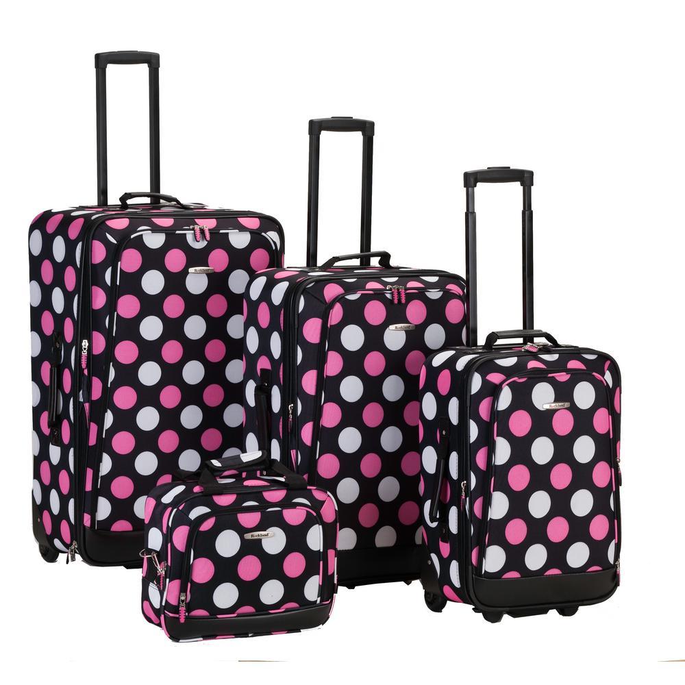 Rockland Beautiful Deluxe Expandable Luggage 4-Piece SoftsideLuggage Set, Mul Pinkdot