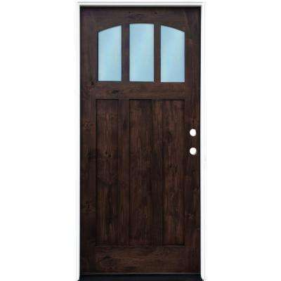36 in. x 80 in. Craftsman Espresso Left Hand Inswing 3-lite w/ Arched Reed Glass Stained Alder Wood Pre-Hung Front Door