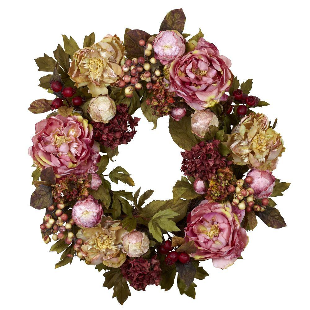 Nearly Natural 24.0 in. H Red Peony Hydrangea Wreath