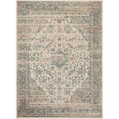 Eveline Teal 7 ft. 10 in. x 10 ft. 3 in. Oriental Area Rug