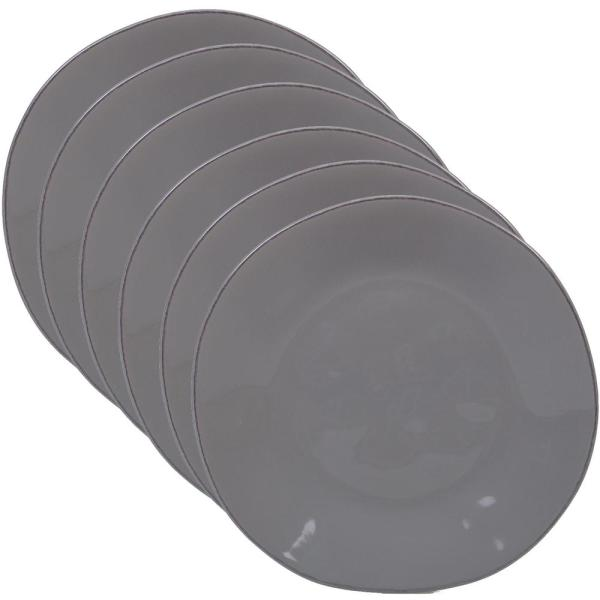 Harmony 6-Piece Traditional Light Grey Ceramic 9 in. Salad Plate Set (Service for 6)