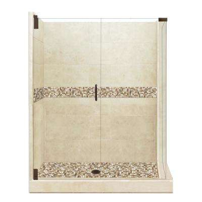 Roma Grand Hinged 42 in. x 48 in. x 80 in. Left-Hand Corner Shower Kit in Brown Sugar and Old Bronze Hardware
