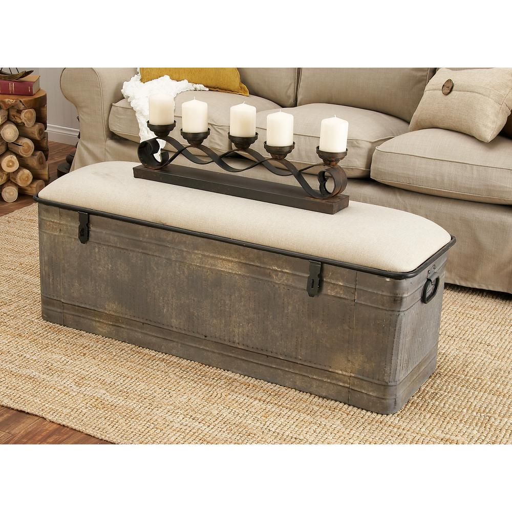 50 in. x 18 in. Horse Watering Trough-Inspired Silver Gray Iron