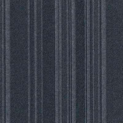 First Impressions Barcode Rib Ocean Blue Texture 24 in. x 24 in. Carpet Tile (15 Tiles/60 sq. ft./case)