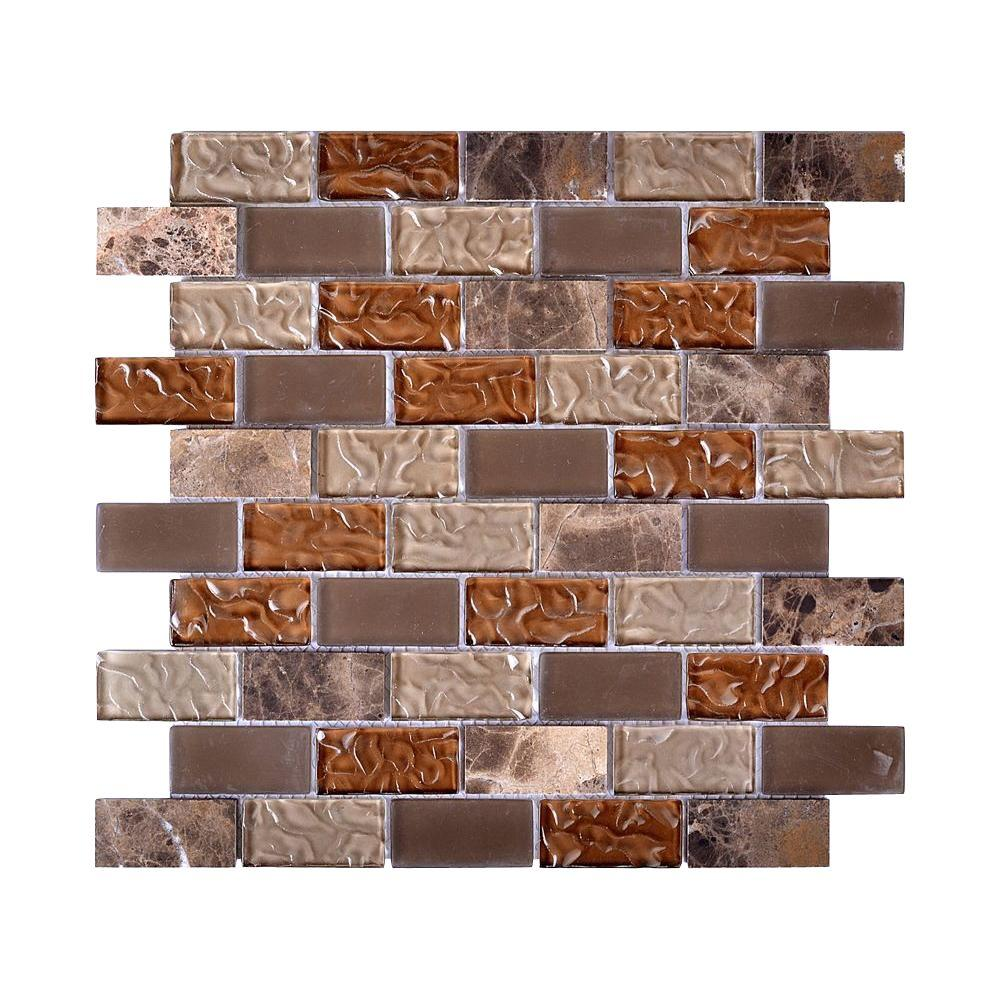 Upscale Designs Mesh-Mounted Glass and Stone Mosaic Wall Tile - 3