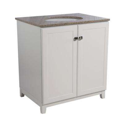Shorewood 30 in. W x 21 in. D 2-Door Bath Vanity in White with Granite Vanity Top in Golden Sand with White Basin