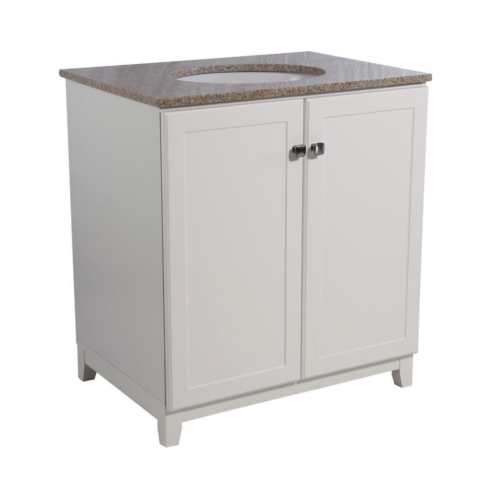 Shorewood 30 in. W x 21 in. D 2-Door Bath Vanity in White with Granite Vanity Top in Golden Sand with White Basin