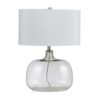24.5 in. Bubbled Clear Glass Table Lamp with Shade