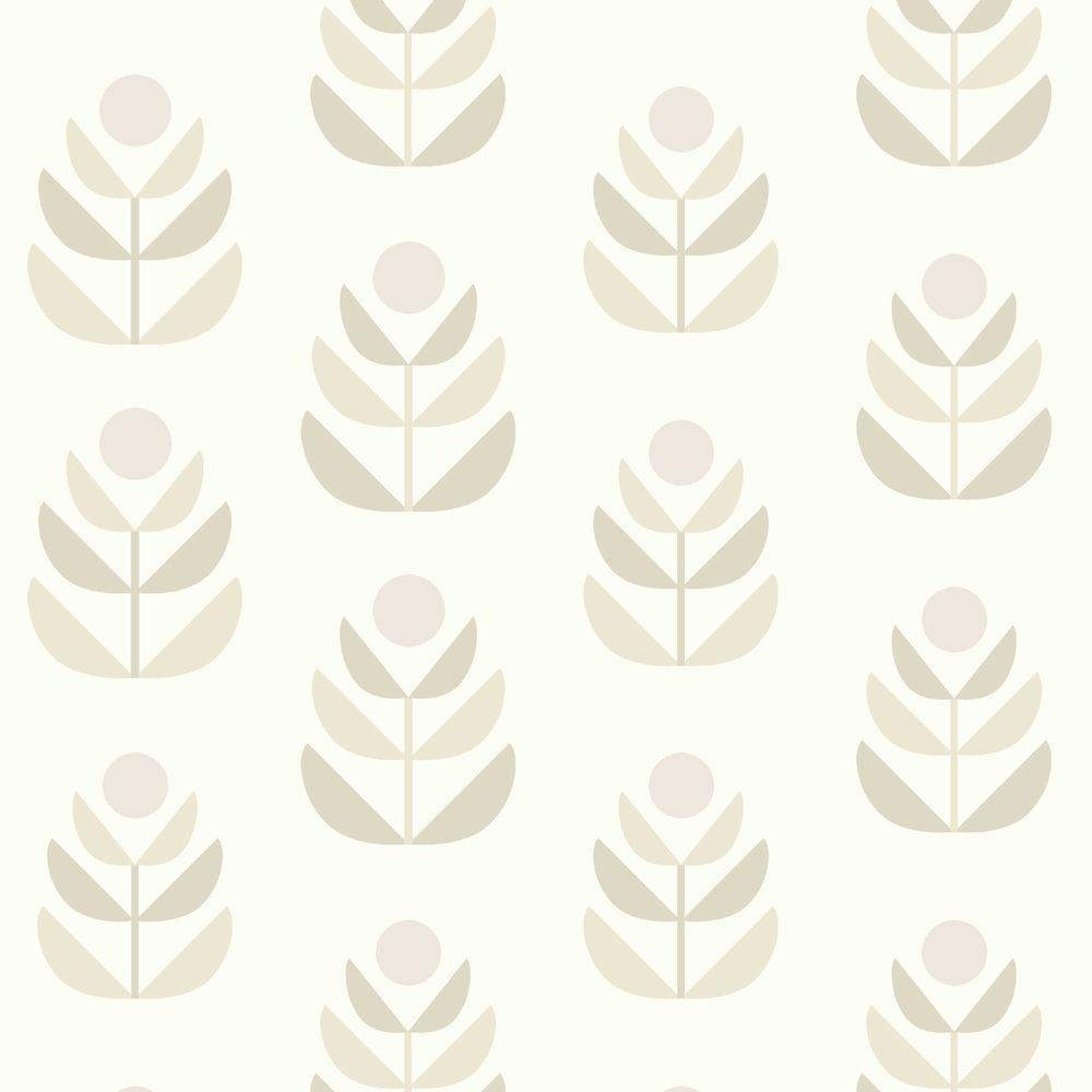 Oslo Beige Geometric Tulip Wallpaper Sample