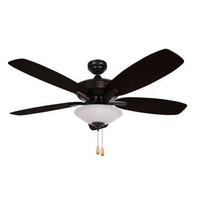ALEXIS 52 in. 5-Blade Matte Black Ceiling Fan with Light Kit