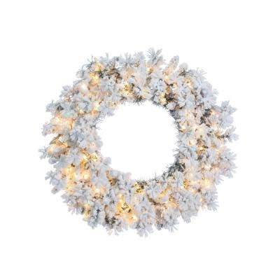 30 in. Heavily Flocked Wyoming Snow Pine Wreath with 150 Warm White LED Micro Lights
