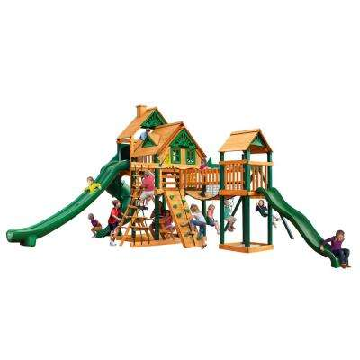 Treasure Trove II Treehouse Swing Set with Timber Shield