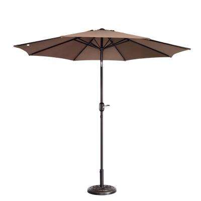 9 ft. Aluminum Market Auto Tilt Patio Umbrella in Brown