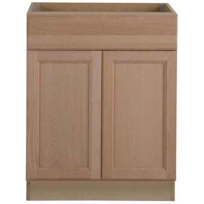 Easthaven Shaker Assembled 27x34.5x24 in. Frameless Base Cabinet with Drawer in Unfinished Beech