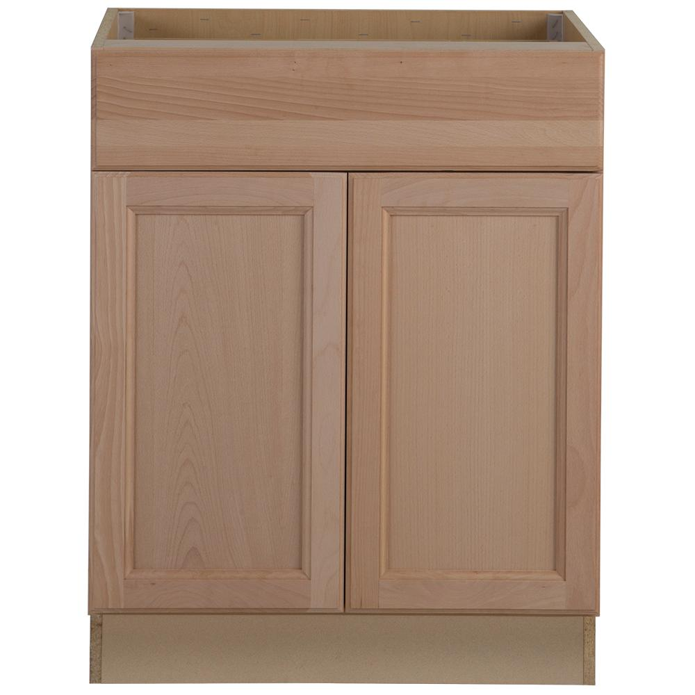 Easthaven Assembled 27x34.5x24 in. Frameless Base Cabinet with Drawer in  Unfinished German Beech