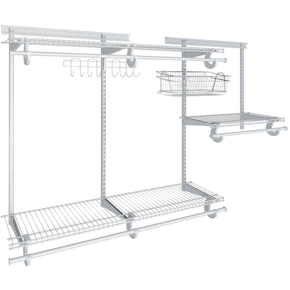 ClosetMaid Shelftrack 12 in. D x 72 in. W x 84 in. H White Wire Reach in Closet Kit with Basket and Hooks