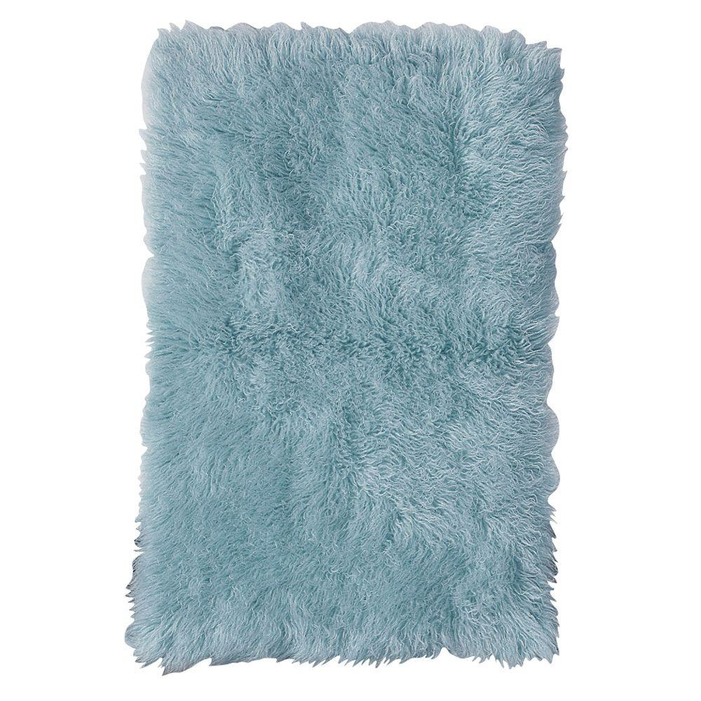 Home Decorators Collection Standard Flokati Denim Blue 2 ft. 4 in. x 4 ft. 6 in. Area Rug