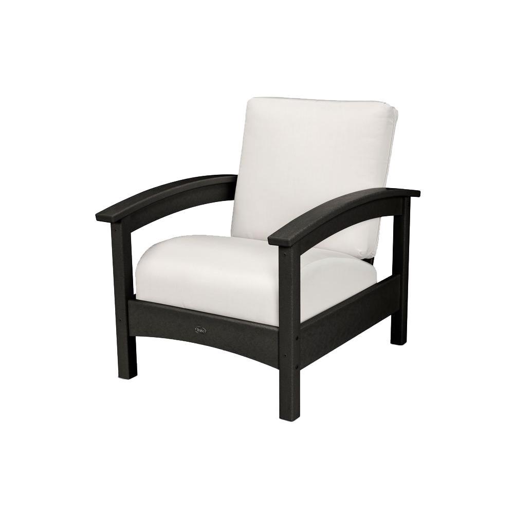 Rockport Charcoal Black All Weather Plastic Outdoor Lounge Chair With  Sunbrella Birdu0027s Eye Cushion