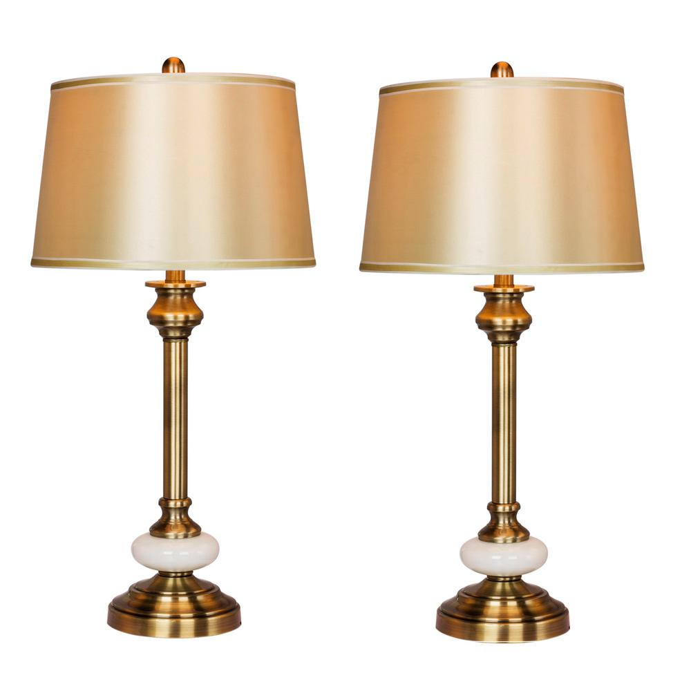 Fangio Lighting 30 in. Antique Brass and White Glass Contemporary Candlestick Table Lamps