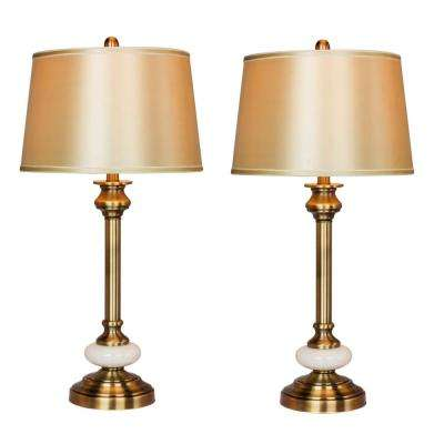 30 in. Antique Brass and White Glass Contemporary Candlestick Table Lamps