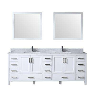 Jacques 84 in. Double Bath Vanity in White w/ White Carrera Marble Top w/ White Square Sinks and 34 in. Mirrors