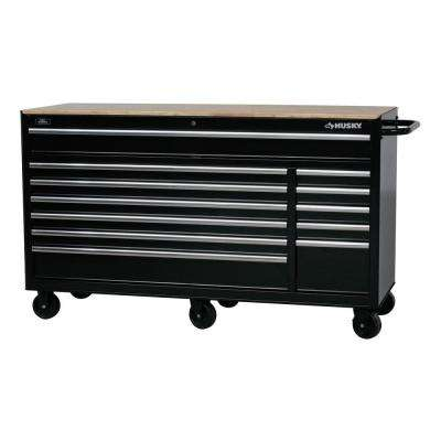 66 in. W x 24 in. D 12-Drawer Tool Chest Mobile Workbench with Solid Wood Top in Black