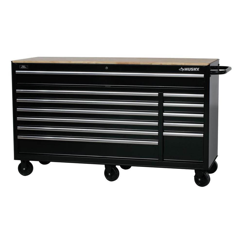 Husky 66 in. W 12-Drawer, Deep Tool Chest Mobile Workbench in Gloss Black with Hardwood Top