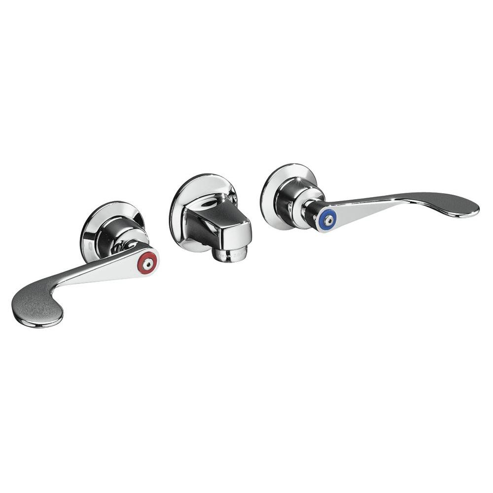 KOHLER Triton 8 in. Wall Mount 2-Handle Low-Arc Commercial Bathroom Faucet in Polished Chrome with Grid Drain