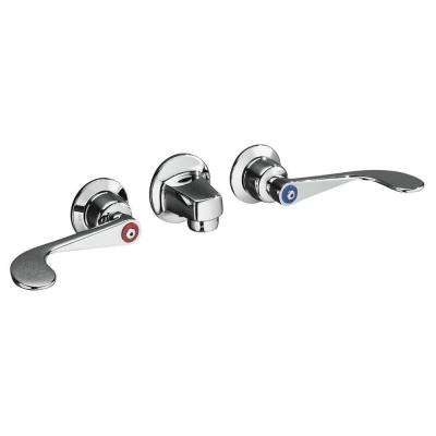 Triton 8 in. Wall Mount 2-Handle Low-Arc Commercial Bathroom Faucet in Polished Chrome with Grid Drain