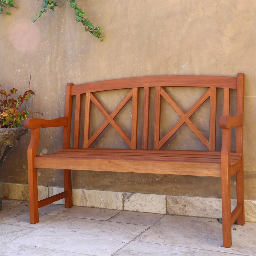 null Eucalyptus 2-Seater Wood Patio Bench