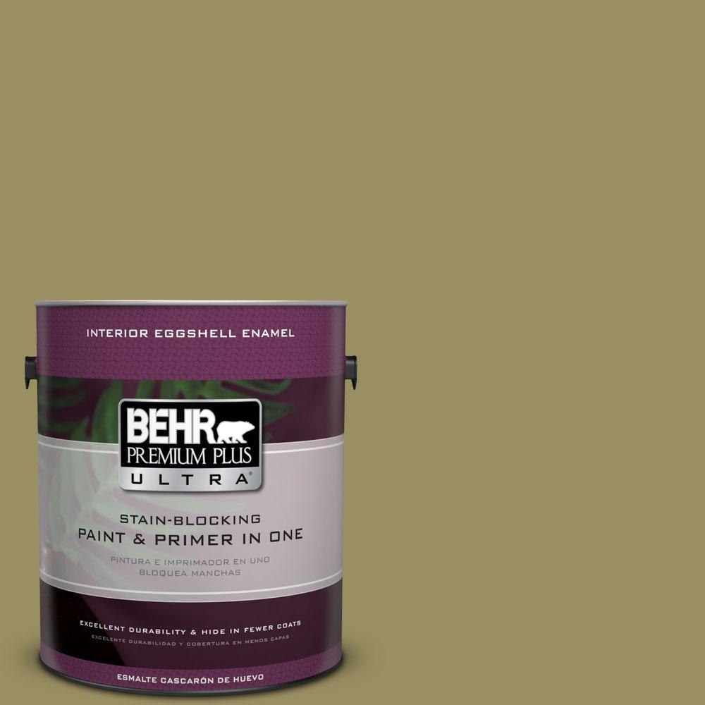 BEHR Premium Plus Ultra 1-gal. #390F-6 Tate Olive Eggshell Enamel Interior Paint
