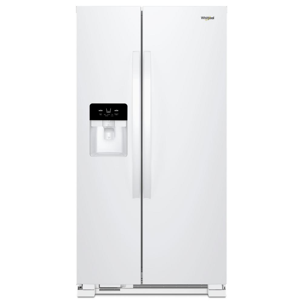 Whirlpool 36 in. W 25 cu. ft. Freestanding Side by Side Refrigerator ...