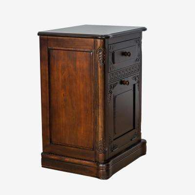 Brown 1-Drawer 1-Door Cabinet