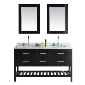 London 61 in. W x 22 in. D Double Vanity in Espresso with Marble Vanity Top and Mirror in Carrara White