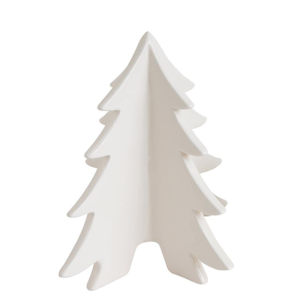 3R Studios 7.09 in. Ceramic White Christmas Tree-XM0305 - The Home Depot