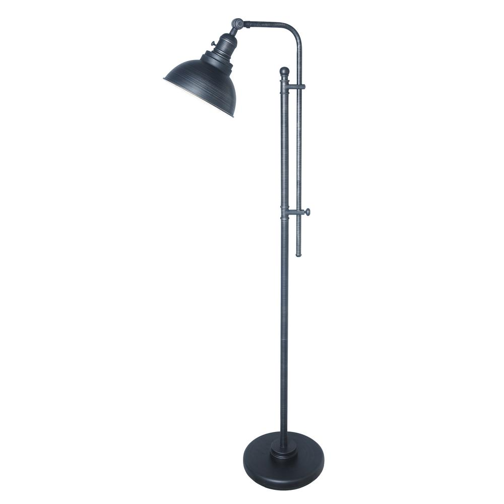 Normande lighting 56 in to 65 in aged dark zinc adjustable floor lamp