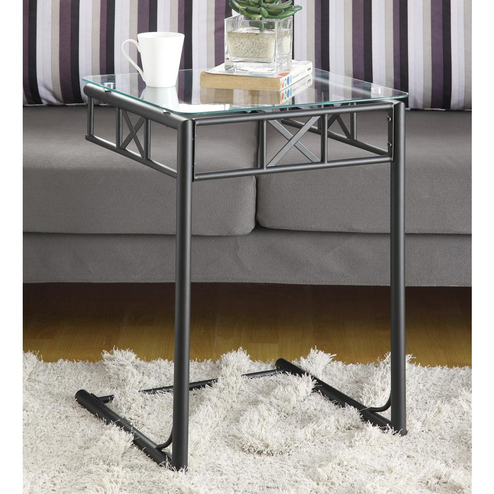 Black Metal Glass End Tables