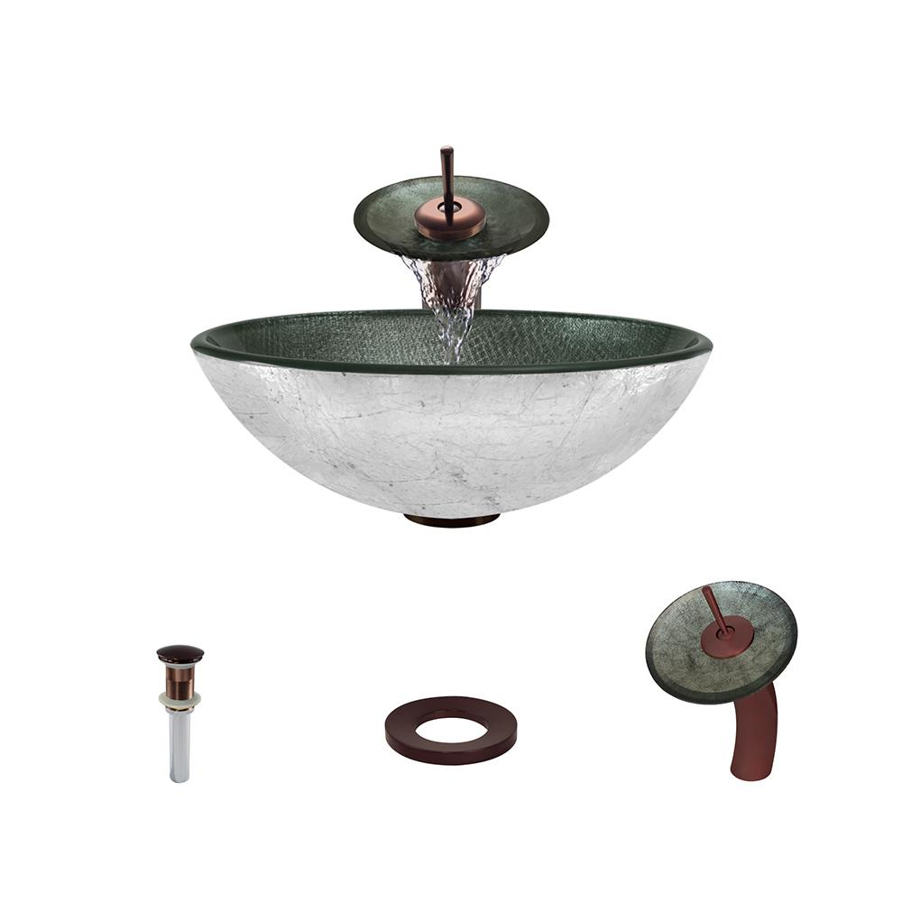 617-731-ABR Bundle - 4 Items: Vessel Sink, Vessel Faucet, Pop-Up Drain, and Sink Ring The MR Direct 617 Antique Bronze Bathroom 731 Vessel Faucet Ensemble