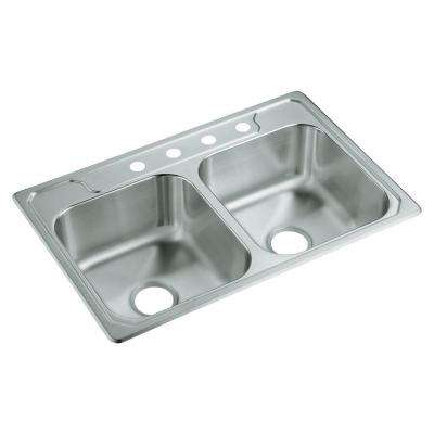 Middleton Drop-in Stainless Steel 33 in. 4-Hole 50/50 Double Bowl Kitchen Sink in Satin