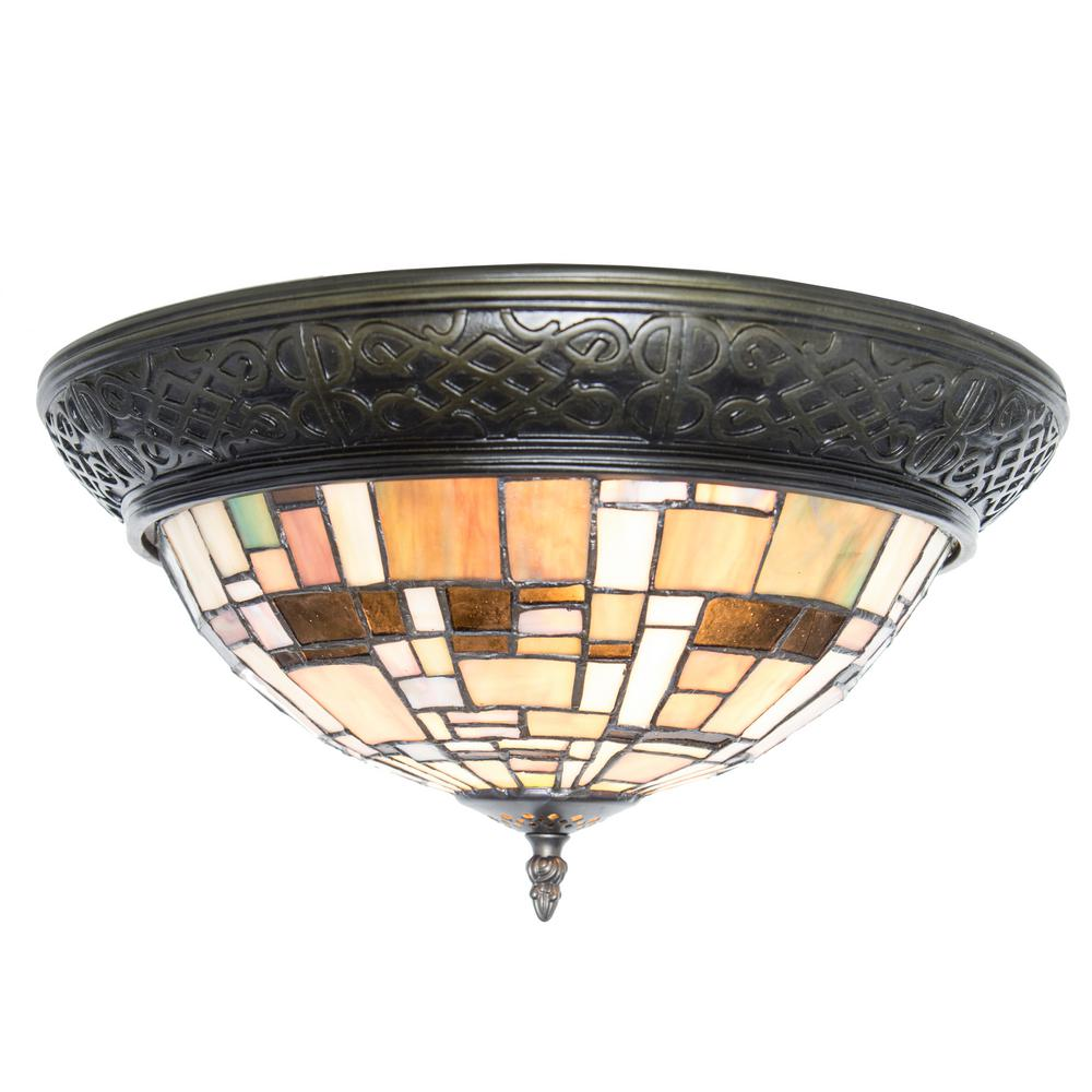 2 Light Multi Colored Stained Gl Flush Mount