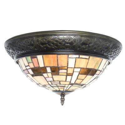 2-Light Multi-Colored Stained Glass Flushmount