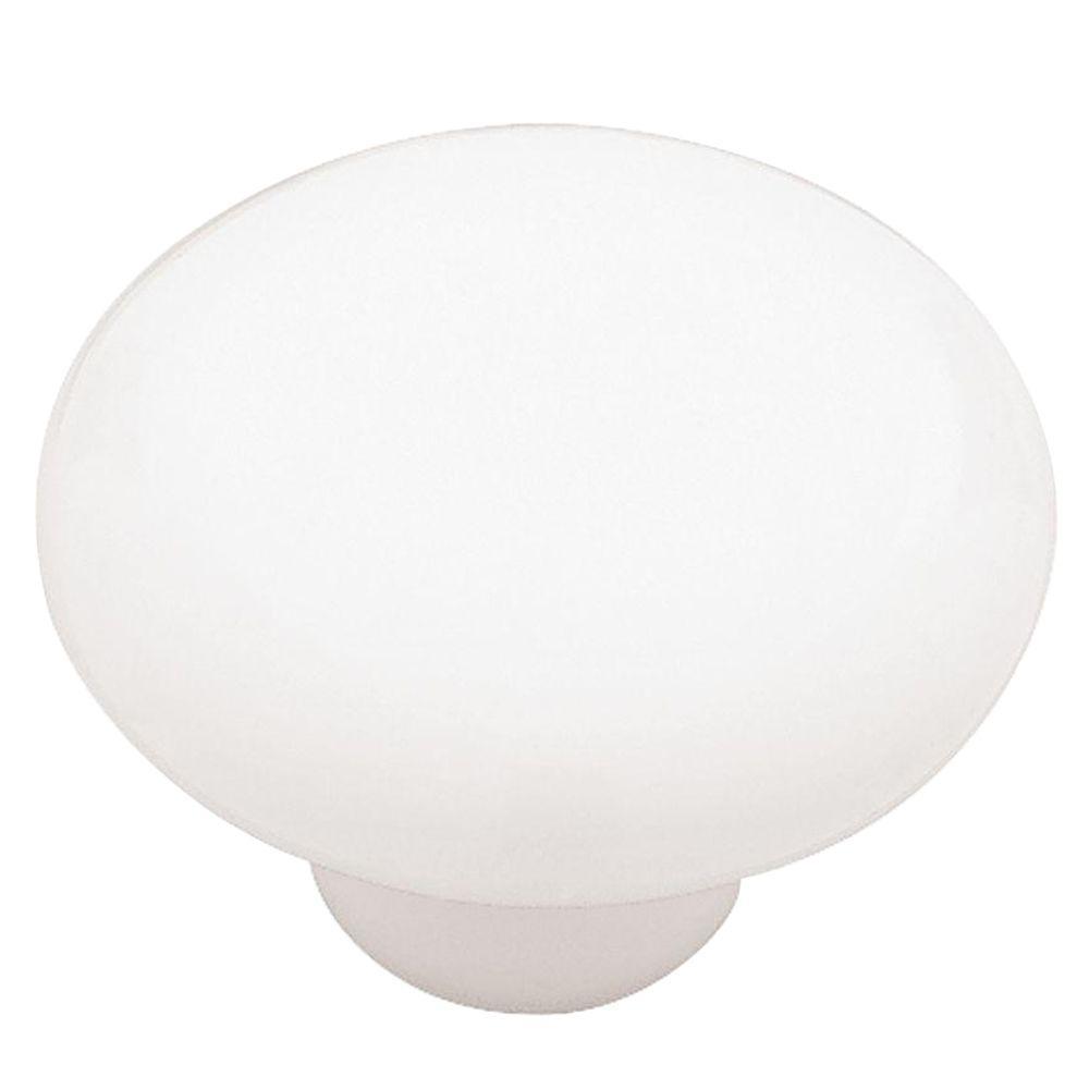 Liberty 1-1/2 in. White Ceramic Round Cabinet Knob