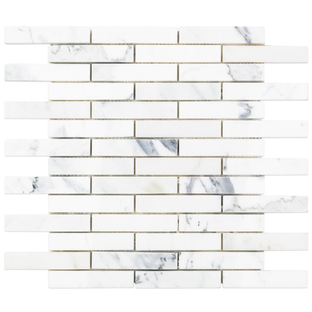 Big Brick Calacatta Marble Mosaic - 3 in. x 6 in. x 10.5 mm Tile Sample