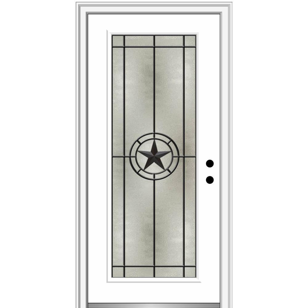 Mmi Door Elegant Star 34 In X 80 In Left Hand Full Lite Decorative Glass Alabaster Painted Fiberglass Prehung Front Door Z03745357l The Home Depot