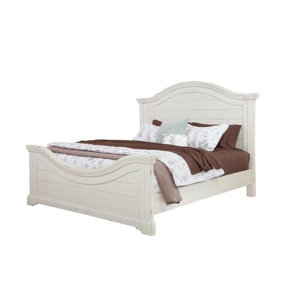 Stonebrook Antiqued White King Panel Bed