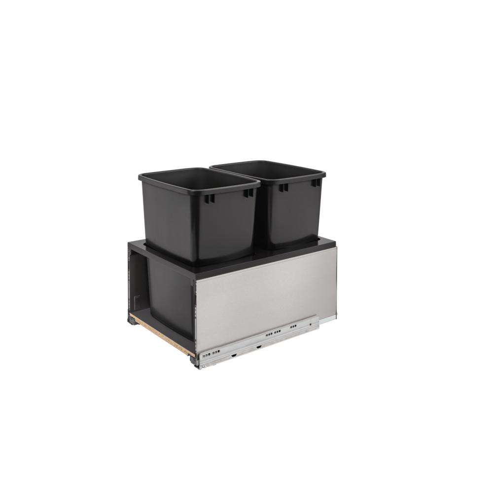 Rev-A-Shelf 35 Qt. Stainless Steel LEGRABOx and Black Double Rev-A-Shelf 35 Qt. Stainless Steel LEGRABOx and Black Double