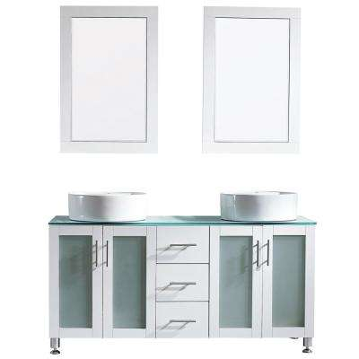 Tuscany 60 in. W x 22 in. D x 30 in. H Vanity in White with Glass Vanity Top in Aqua Green with Basin and Mirror