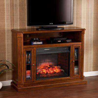 Amsterdam 47.25 in. Freestanding Media Infrared Electric Fireplace TV Stand in Rich Oak